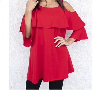 BEAUTIFUL RED COLD SHOULDER TUNIC ❤️